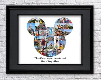 Mickey Mouse Ears Digital Printable Disney Inspired Custom Picture Collage Wall Art Home Decor Fan Art Vacation  Disneyland Disney collage