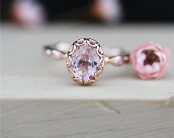 Morganite Ring 6*8mm Oval Cut Morganite Engagement Ring 14K Rose Gold Ring Wedding Diamond Ring Stackable Gemstone Ring Anniversary Ring