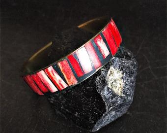 Vintage Brass & Bone Bangle | Brass Bracelet | Red And Black