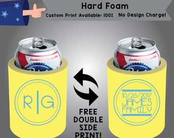 Initial Initial Date Name Family Hard Foam Can Cooler Wedding Double Side Print (HF-W5)