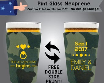 The Adventure Begins Date Name & Name Pint Glass Neoprene Wedding Double Side Print (NEOPINT W6)