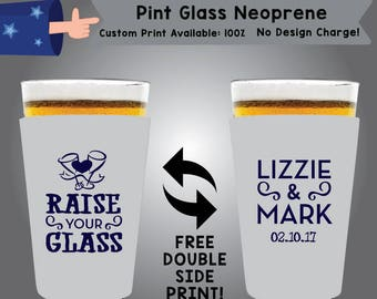 Raise Your Glass Name & Name Date Pint Glass Neoprene Wedding Double Side Print (NEOPINT W7)