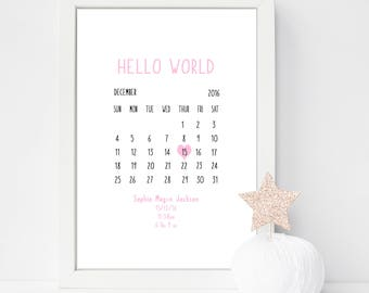 Hello World- Personalised Print- Welcome to the World- Newborn Gift- Birth Details Print