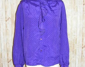 Size 12 vintage 80s high frilly neck loose blouse silky purple polkadots (HK80)