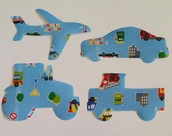 Set of 4 boys vehicles iron on motifs/patches/embellishments car, truck,aeroplane and tractor