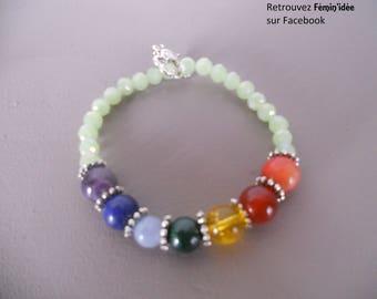 Bracelet 7 Chakras in semi-precious stones and glass beads