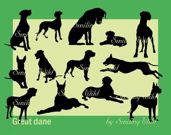 great dane silhouette svg clipart Deutsche Dogge silhouette German Mastiff svg Dogue Allemand digital vector graphic art great dane cut file