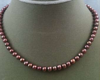 Rose brown freshwater pearl  necklace with gold-filled chain extender
