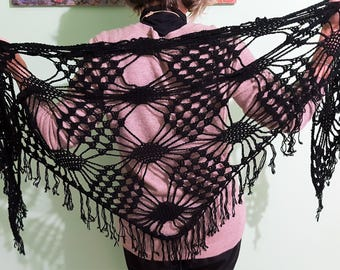 Black shawl crochet cotton