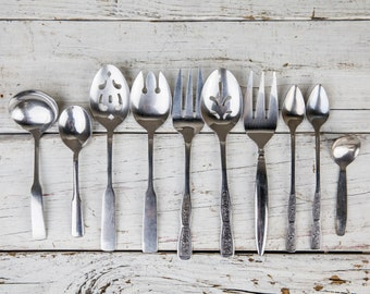 Set of 10 Vintage Rustic Antique Tarnished Silverware-Food Photography Props