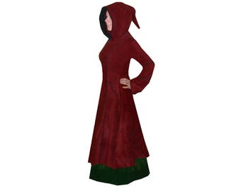 red & black medieval pointy hood LONG COAT JACKET goth hippie emo alt pagan psy 10 12 14 16 18 20 22 24 26 28 30 32 34 36 plus size !