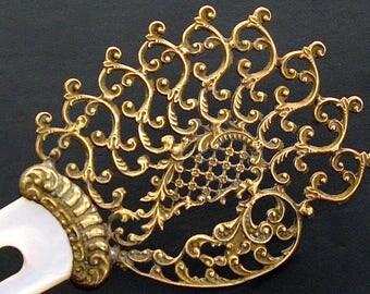 Antique Hair Comb Hair Pin 1920s Gilt Metal Filigree & Mother of Pearl Hair Stick Hair Ornament