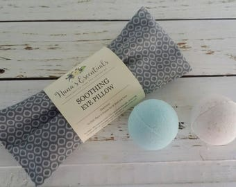 Gift sets under 20 - Migraine Relief Flax seed Peppermint Lavender Eye Pillow - (2) 3.5 oz Bath Bombs - Aromatherapy-Spa like