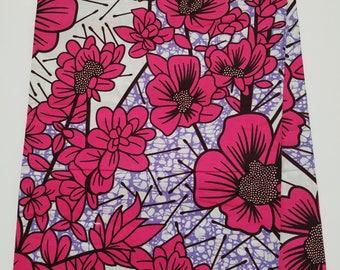 White and Pink African Ankara Fabric; Ankara Fabric; African Clothing; African Print; African Headwrap;Ankara Fabric in yard; African Fabric