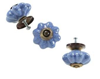 1 furniture knob furniture handle, furniture knob, knob 45 mm, ceramic, blue crackle #0046