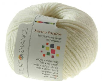 10 x 50g knitted yarn merino passion Superwash, #09 cream