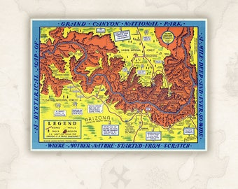 Grand Canyon map, 1940. A Hysterical Map of the Grand Canyon National Park by Lindgren Brothers.Humor, amusing drawings, funny.Map decor.