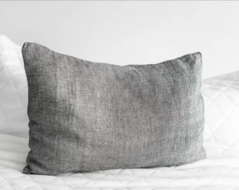 Set of 2 White&Black Color Linen Cases, Washed Linen Pillow Cases