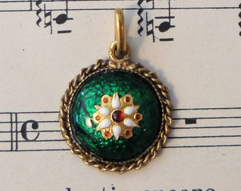 Antique French Bressan / Bresse Enameled Pendant c1920