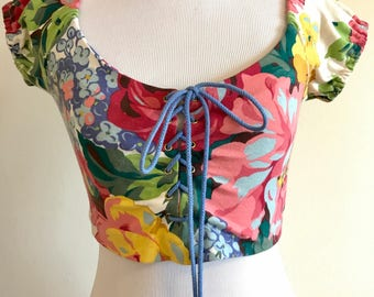 Vintage Betsey Johnson Floral Cotton Lycra Lace-up Crop Top