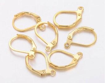 2 pairs (4pcs), 15x10mm, o, Nickle Free, Gold