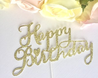 Happy Birthday gold Glitter Cake Topper, HEART