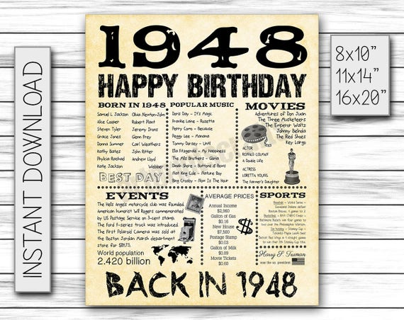 70th Birthday 1948 Fun Facts 1948 for Husband Gift for