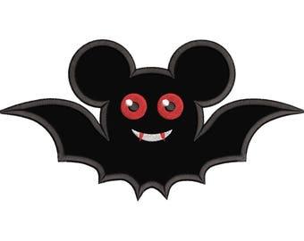 Halloween Bat Mickey Ears Applique Design - Mickey Mouse Ears - Bat Mickey Applique Design - Instant Download