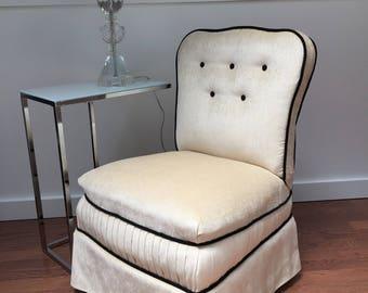 1920s Slipper Chair, museum quality restoration, silk chenille upholstered