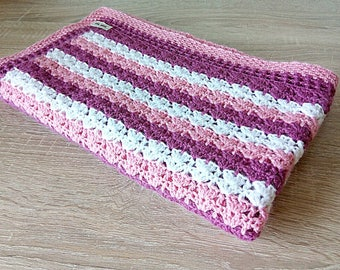 Hand Knitted Baby Blanket Knit Baby blanket Girl blanket Crochet baby blanket Crib blanket Pink crib blanket Hand knit baby Wool blanket