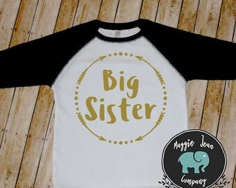 Big Sister Shirt, Big Sister Little Sister Outfit, Baseball Tee, Sister Shirt, Big Sister, Raglan, Hospital Outfit, Pregnancy Announcement