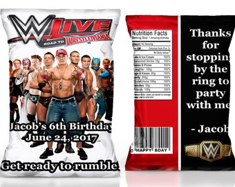 WWE chip bag, WWE party favor, WWE birthday party, wrestling party, wrestling favor-----digital file only!!!!