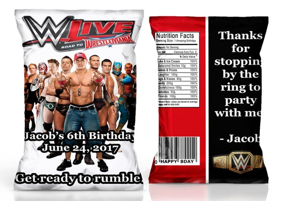 WWE Chip Bag Party Favor Birthday Wrestling