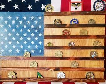 USA Flag Challenge Coin Display
