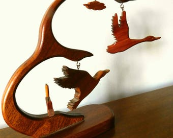 Mid century modern  1960s wood  flying geese mobile