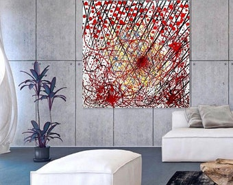 Abstract Painting Modern Wall Art, Red Black White Orange Yellow Blue Abstract Art, Original Abstract Painting On Canvas.