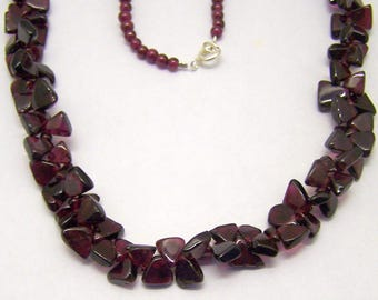 Germau sterling silver garnet  Necklace #105
