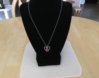 Ladies Awareness Heart Necklace.