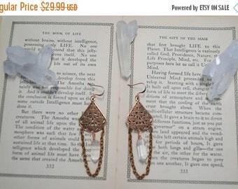 Clear Quartz Chandelier copper earrings