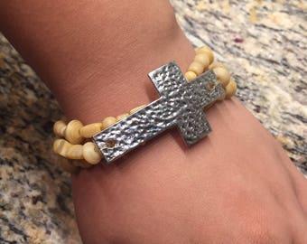Set of 3 Bracelets with Cross