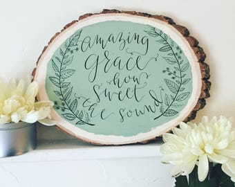Amazing Grace Hymn Hand Painted Calligraphy Wood Sign Sage Green