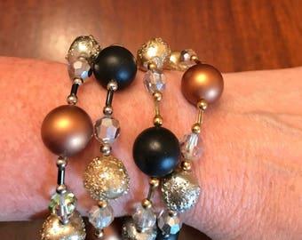 Vintage Vendome Crystal & Beaded 4 Strand Bracelet