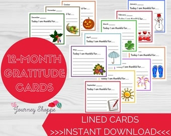 Gratitude Note Cards for Kids & Families ~ Designs for Each Month of the Year~ Instant Download Printable