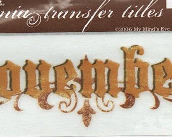 November Title Rub On Transfer Embellishments Cardmaking Crafts My Mind's Eye Bohemia