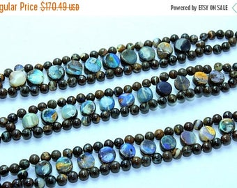 Brilliant !!!~100% Natural  Boulder Opal silver Bracelet Smooth Beads 4x8mm Approx 8''Inch Good Quality.{Bo-06}