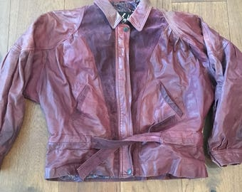 Women's Leather and Suede Burgundy Jacket Retro Vintage Bomber Style Jacket Suede Tie in Front Size Medium