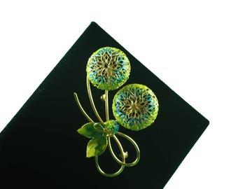 Vintage brooch-abstract-floral-enamel-green-blue-elegant-filigree-1960s-mid century-Mad Men-Gift