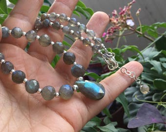 Shimmering labradorite necklace/choker and earring