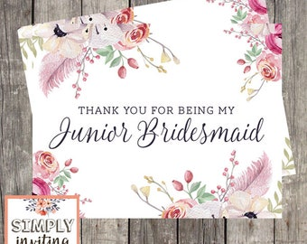 Junior Bridesmaid Bridal Party Thank You Card, Printed Note Card, Wedding Party Thank You Card, Thank You for Being in My Wedding, Floral