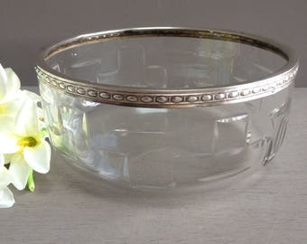 French cristal silver rimmed fruit bowl. Sterling silver ringed. Cut cristal Salad bowl. French luxury tableware. Luxury bowl. cristal bowl.